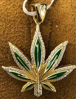 Marijuana Leaf Gold Plated