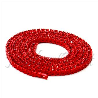 Hip Hop Fashion One Row Necklace in Red Plating Whit Red Stone
