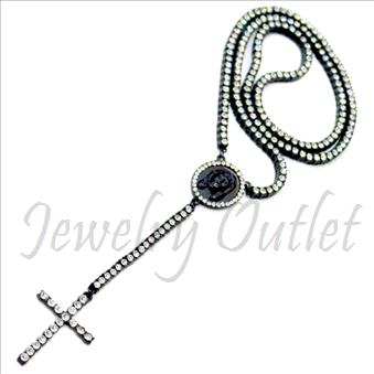 Hip Hop Fashion 1 Row Rosario Crystal Rosary Beautiful Shiny Stones and Black Plating With White Stones 30 inches Rosary Chain with 6 inches dangling part with Cross