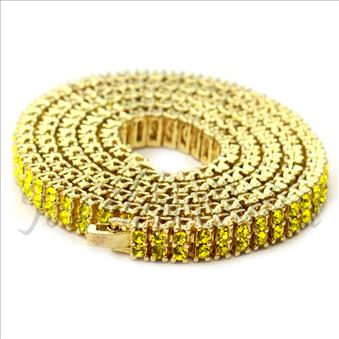Hip Hop Fashion 2 Row Necklace in Gold Plating With Yellow Stones