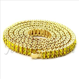 Hip Hop Fashion Two Row Necklace in Yellow Plating With Yellow Stone
