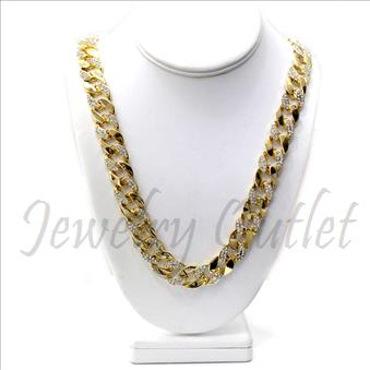 Hip Hop Fashion Cuban Ice Half Stone 30 Inch Chain