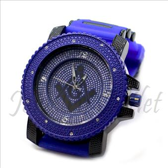 Hip Hop Fashion bling eyes Watch With Blue Jelly Band Water Resistant and Stainless Steel Back Cover