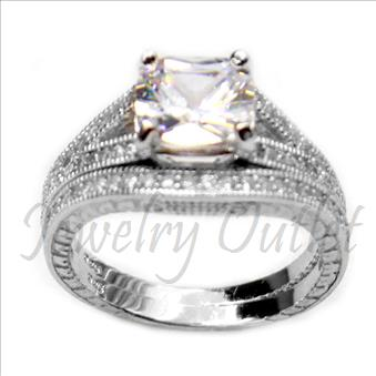 Ladies Bridal Sterling Silver Ring In Cubic Zirconia