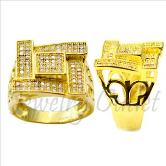 Mens Yellow Plating Finish over Sterling Silver High Quality CZ Fashion Ring