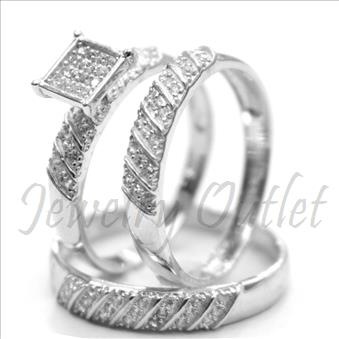 Sterling Silver Trio Sets With Cubic Zirconia