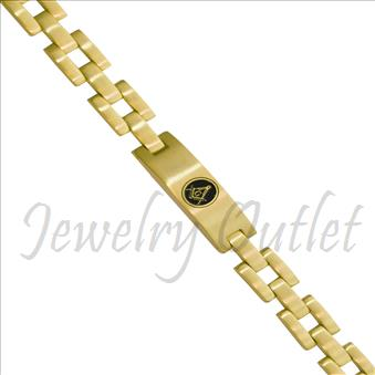Stainless Steel Masonic Mens Bracelets Gold Plated