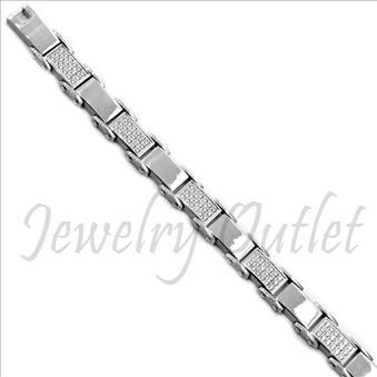 Stainless Steel Mens Bracelets In Silver Plating with CZ Diamonds