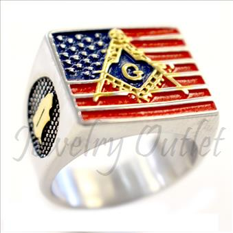 Stainless Steel Mens Masonic sign with American Flag Ring