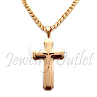 Stainless Steel Chain and Charm Combo Set Includes 30 Inch Length Cuban Chain With an Approximately 3.5 Inch Cross Tall Pendant