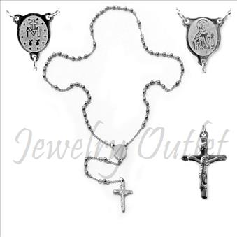 Stainless Steel Rosario Beautiful Shiny 24 inches Rosary Chain and 6 inches dangling part with Cross