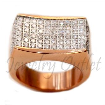 Stainless Steel Mens Ring With Cubic Zirconia