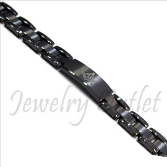 Tungsten Carbide Masonic Mens Bracelet