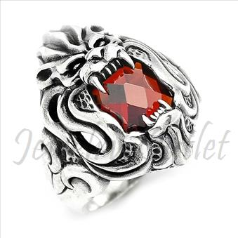 Sterling Silver Ring Lion W Red Onyx